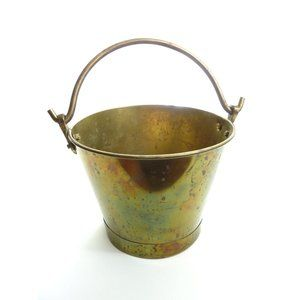 Vintage Brass Bucket Pail With Handle Planter Pot